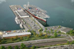An aerial view of the proposed site placement of the USS John F. Kennedy in Coddington Cove.