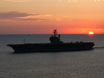 USS JFK Sunset to Norfolk