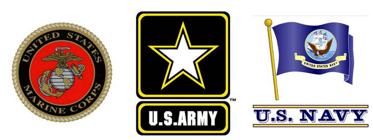 Army, Navy, Marine Decals