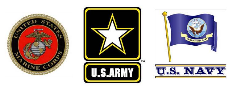 Army, Navy, Marine Decals