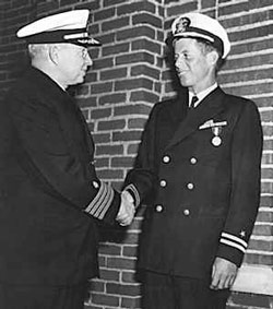 June 12, 1944 - Captain Conklin presents the Navy and Marine Corps medal for Gallantry in Action to Lt. John F. Kennedy during a simple ceremony at Chelsea Naval hospital in Massachusetts. Jack had also received the Purple Heart.