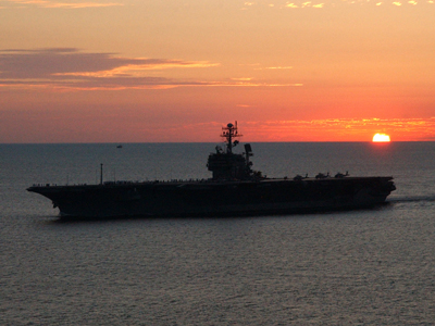USS JFK Sunset to Norfolk