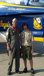 Retired Naval Aviator Rich Suttie and his Eagle Scout son Kyle at a recent RI National Guard Air Show.